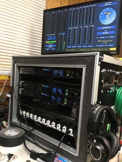 The WheatNet-IP system is carried on the road in a flyway kit for live remote broadcasts. Hibbard can dial into the WheatNet-IP system and look at the system performance from anywhere in the world.