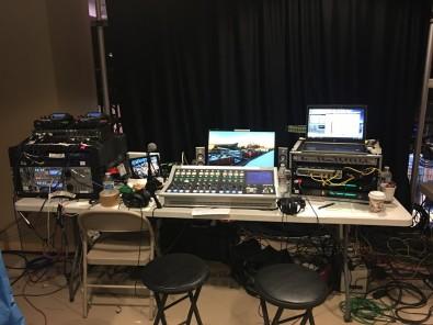 Hibbard's typical live remote setup for DirecTV SportsNet.