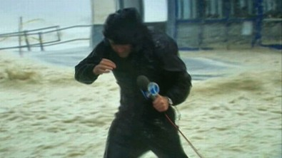 Reporter in Hurricane Sandy. No doubt he had extreme wind noise.