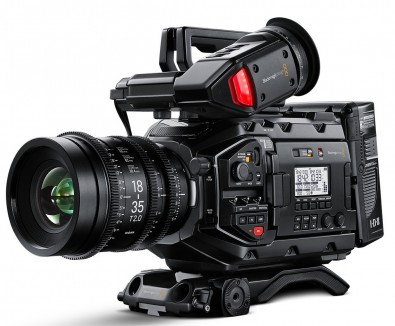 The URSA Mini Pro fitted with optional shoulder mount and viewfinder.