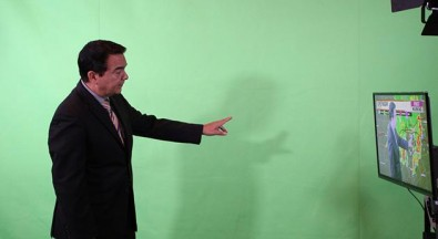 Garcia performs all of his green screen compositing with the Blackmagic Atem switcher and its chromakey option.