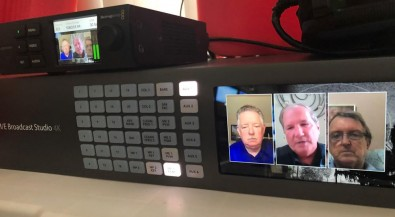 A Blackmagic Hyperdeck Mini handles playback in the living room during remote broadcasts.