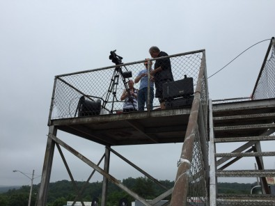 The camera on an observation tower next to the studio was fiber-linked to the TriCaster Mini.