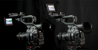 The monitor and audio interface can be fitted in several configurations to suit tripod mount, shoulder mount or hand holding.