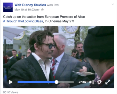 "Disney Studios provided live coverage of the red carpet walk to launch the movie, ""Alice Through The Looking Glass."" Image: Walt Disney Studios."