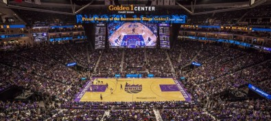 Designed by Panasonic, the Golden 1 stadium's hanging videoboard is almost as wide as the court itself. Click to enlarge.