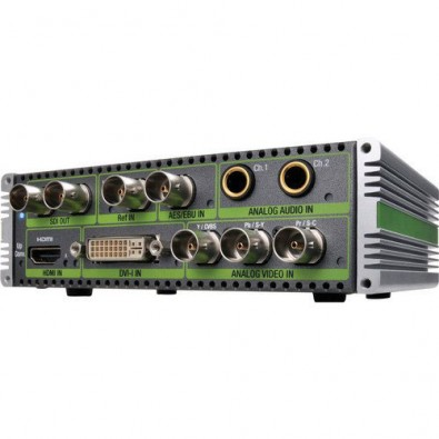 Several Grass Valley ADVC G1 any input to SDI output converters helped interconnect the variety of signal types.