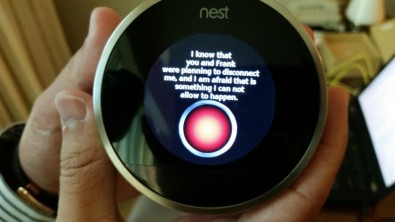 As this image shows, even home networking devices are not safe from hacking. In this case, a NEST thermometer was hacked by University of Central Florida undergraduate security researcher Grant Hernandez. He programmed it to riff off a favorite line from the movie <em>2001: A Space Odyssey.</em>