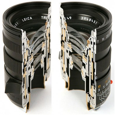 Still camera lens interior. Note the multiple elements. (Image courtesy Leica.)