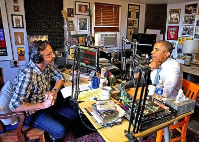Marc Maron with President Obama doing a podcast in Maron's Los Angeles garage, 2015