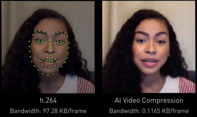 AI can perceive the important features of a face, send only the changes of the features and reanimate the face at the receiver, reducing bandwidth by a factor of 10. Courtesy NVIDIA.