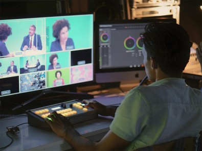 The cameras are mixed with an ATEM 1 M/E Production Studio 4K switcher.