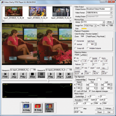 Video Clarity RTM test and measurement GUI displaying multiple signal parameters.