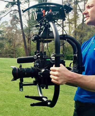 Cinematographer Richard Sweeney with Varicam LT on Freefly MoVI Pro shooting a feature for the Masters broadcast.