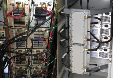 PAs behind the rack doors of the outgoing Pineapple (L) and the incoming GatesAir Maxiva (R).