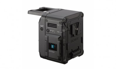 The Sony AXS-R7 RAW recorder docks to the rear of the camera.