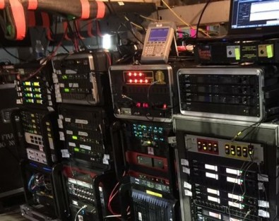 Racks for RF equipment supplied by Soundtronics Wireless.