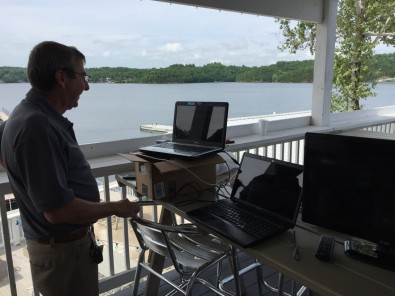 The receiver test was setup on a deck next to the studio. Laptops monitored the Maevex encoder and decoder and the Ubiquiti Rocket spectrum analyzer displays.