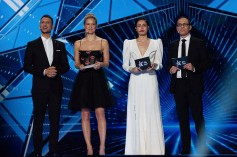 This year's Eurovision presenters: from left to right, Assi Azar, Bar Refaeli, Lucy Ayoub, and Erez Tal.