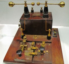 This early 1900s spark-gap transmitter was for ship-to-shore communications and had a range of about 6 miles.