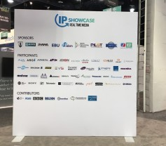 The IP Pavilion demonstrated interoperability of four parts of the new SMPTE ST 2110 standard between dozens of companies (click to enlarge).