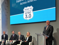 At a press conference, ATSC 3.0 was said to be launching in 40 markets by 2020. The NAB's President and CEO Gordon Smith is seen here at the podium discussing new opportunities for local broadcasting.