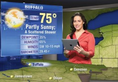 Television meteorologists want the latest tools to help make their forecasts accurate. Shown here is an AccuWeather iPad controller for weather graphics.