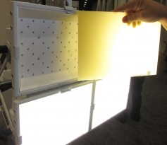 BBS Lighting fixtures incorporate the phosphor onto a separate panel, which mounts in front of the LED array. The objective is to get a more accurate color rendering.
