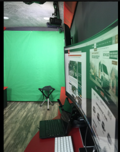 The new social media vans include a small green screen wall at the front end for instant compositing of new anchors.]