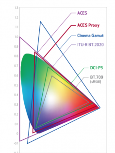 Figure 18. Color Spaces Supported by Cinema Light RAW Data Files.