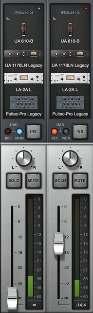 Plug-Ins compressed on channel strip.
