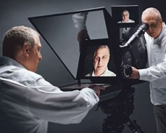 Film director, Errol Morris, solved a common interview problem, where the interviewer and interviewee cannot directly look at each other. His solution, the Interrotron, allows both people to see each other during the interview.