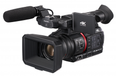 Panasonic CX350.  Some latest-generation camcorders like the Panasonic CX350 feature built-in NDI/HX streaming capability through a CAT 6 connector. Given the recent trend to IP remote production and live streaming, this level of versatility in a camcorder is imperative.
