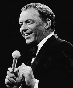 Frank Sinatra sings into an RCA 44 ribbon microphone