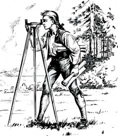 George Washington using surveyor's tripod