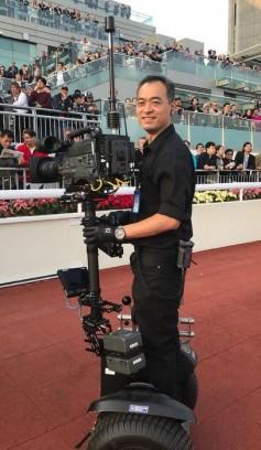 Hong Kong Jockey Club camera operator on a Segway with Bolero belt pack