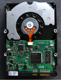 Fig 1 – the underside of this hard disk drive shows the controller PCB with processor, cache memory, and non-volatile memory.
