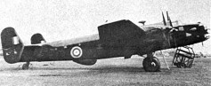 The Halifax II V9977, which crashed on June 7, 1942, killing Alan Blumlein. Note the H2S radome under the belly. Click to enlarge.