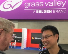 Jay talking with Grass Valley product manager for editing, Atsushi Kataoka.