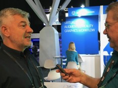 Brainstorm's marcomm dir. Miguel Churruca talks with Jay on the floor of IBC 2019.