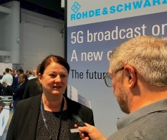 Patrizia Muehlbauer, pr manager at Rohde & Schwarz talks with Jay Ankeney of The Broadcast Bridge