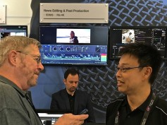 Jay Ankeney interviewing Grass Valley's Atsushi Kataoka on the floor of IBC2018. Click to enlarge.