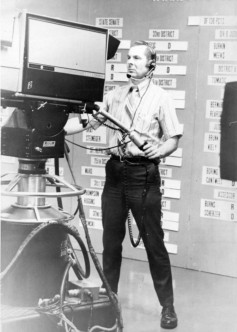 State-of-the-art 1968 primary election results graphics on WDAF-TV were posted on a flat behind the cameras. The first electronic character generator debuted later that year during US Presidential election network coverage, developed by CBS Labs.