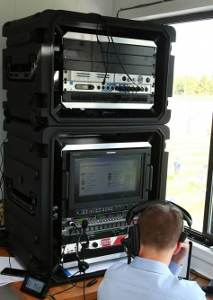 A remote production setup at one of the school's venues is highly portable and can be set up and moved quickly.