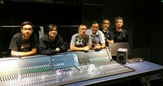 Mediacorp studio staff with Lawo console.