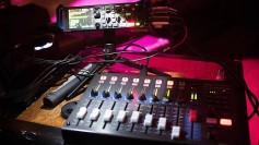 Zoom F8 mixing recorder and control panel near the stage. Each ribbon plugged right in with no problem