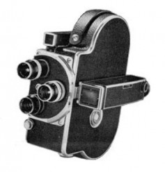 Figure 1. The Bolex H8 essentially was a H16 with a film gate sized and positioned for 8mm film. After shooting a 25-foot roll, the roll was flipped, and 25-feet was again shot. Each pass captured a strip of 8mm frames. After processing, the reversal 16mm film was slit and spliced into a 50-foot of roll of 8mm film. Click to enlarge.