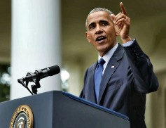 Former President Obama in front of SM57s