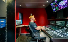 Sound engineer Ivan Mrkoci at the new SSL System T console in Nova TV's HD OB Van 3.