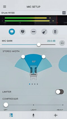 Shure USB Mic app on iPhone